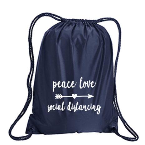 Peace, Love, Social Distancing Drawstring Pack